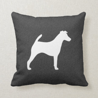 Smooth Fox Terrier Silhouette Throw Pillow