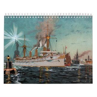 SMS Kaiserin Augusta leaving New York by Saltzmann Calendars