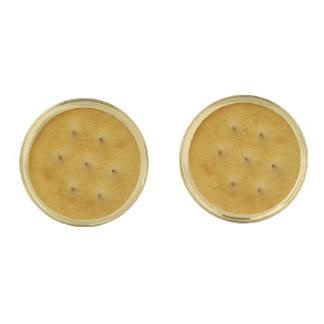 Snack Cracker Gold Finish Cufflinks