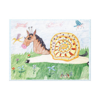 Snail Horse Penelope And The clouds And Party Canvas Print