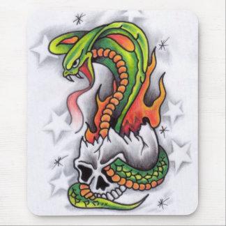 Snake-around-skull-tattoo-design Mouse Pad