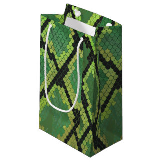 Snake Black and Green Print Small Gift Bag