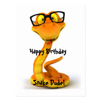 Snake Dude   Cute Chinese Zodiac Sign Postcard