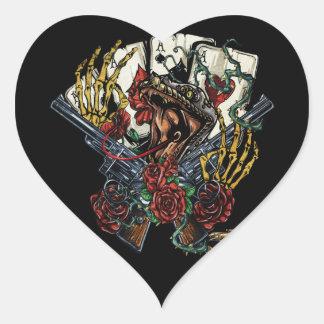 Snake Gun And Roses Poker Cards Heart Sticker