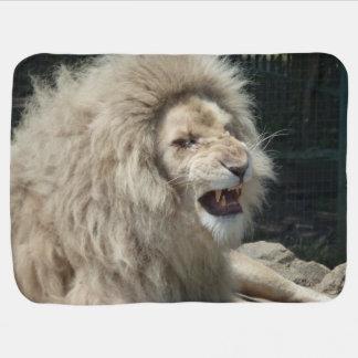 Snarling White Lion Swaddle Blanket