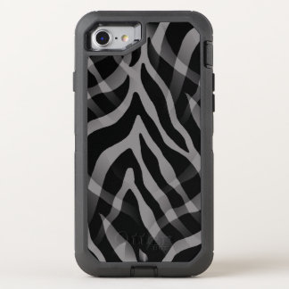 Snazzy Neutral Gray Zebra Stripes Print OtterBox Defender iPhone 8/7 Case