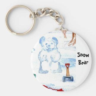 """Snow Bear""  CricketDiane Coffee Art Basic Round Button Key Ring"