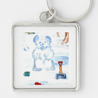 """""""Snow Bear""""  CricketDiane Coffee Art Silver-Colored Square Key Ring"""