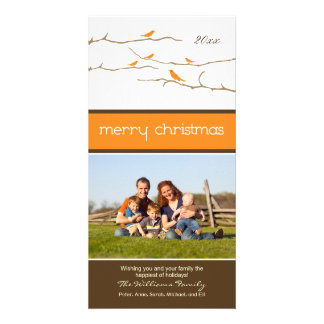 Snow Birds Merry Christmas Photocard (orange) Personalized Photo Card