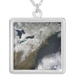 Snow cover stretching from Canada Silver Plated Necklace