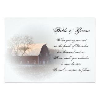 Snow Covered Barn Winter Wedding Save the Date 13 Cm X 18 Cm Invitation Card