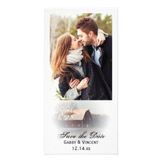 Snow Covered Barn Winter Wedding Save the Date Personalised Photo Card