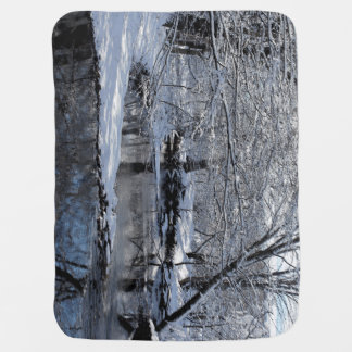 Snow Covered Saco River Baby Blanket