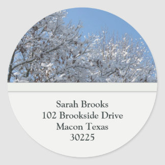 Snow Covered Tree Top Address Labels Round Sticker