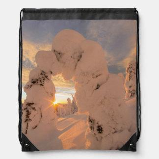 Snow Ghosts In The Whitefish Range Drawstring Bag