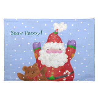Snow Happy Santa and Teddy Placemat