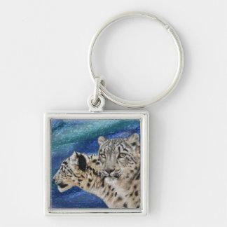 Snow Leopard Habitat Keychain