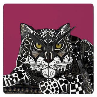 snow leopard pink square wall clock