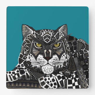 snow leopard teal blue square wall clock