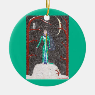 Snow Maiden Ornament - Ceramic Round