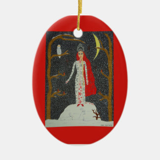 Snow Maiden (Red Version) Ornament - Ceramic Oval