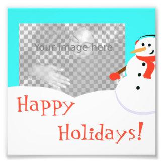 Snow man photo card