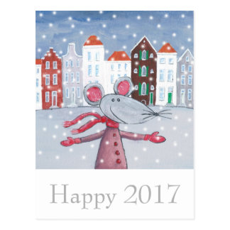 Snow Mouse Happy New Year Card- Happy 2017 Postcard