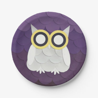 Snow Owl 7 Inch Paper Plate