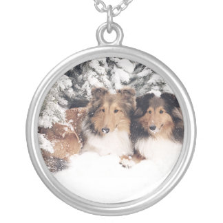 Snow Shelties Silver Plated Necklace