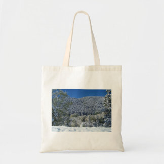 Snow_Trees_Framed Tote Bag