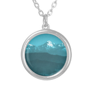 Snow views of Chinese Mountains from Almora Hills Round Pendant Necklace