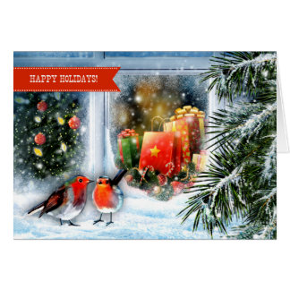 Snow Window Scene. Customizable Christmas Cards