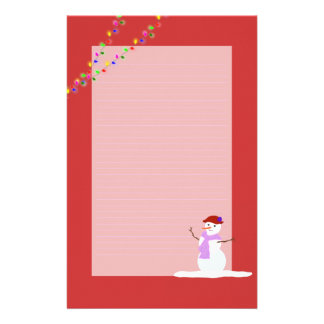 Snow Woman Red Lined Christmas Writing Paper Stationery