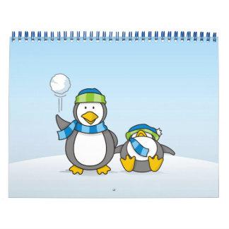 Snowballing penguins calendar
