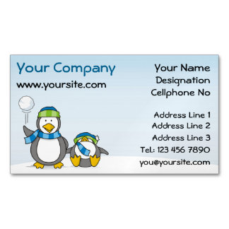 Snowballing penguins magnetic business card