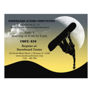 Snowboard competition flyer design