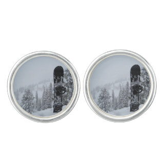 Snowboard In Snow Cufflinks
