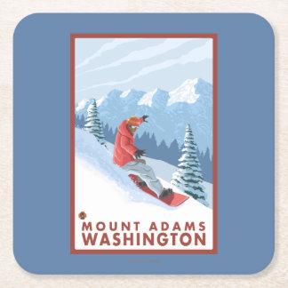 Snowboarder Scene - Mount Adams, Washington Square Paper Coaster
