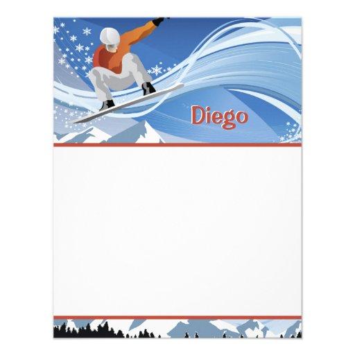 Snowboarder Stationery Invite