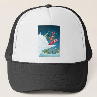 Snowboarding reindeer trucker hat