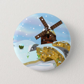 Snowdrops windmill 6 cm round badge
