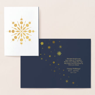 Snowflake and Snow Flurries Christmas Gold ID426 Foil Card