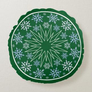 Snowflake Blizzard on Green Round Cushion