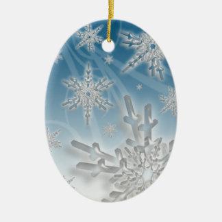 Snowflake Blue Background Holiday Decoration Ceramic Oval Decoration