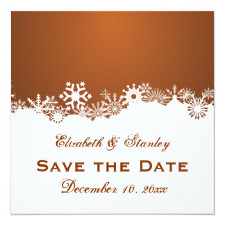 Snowflake brown winter wedding Save the Date Card