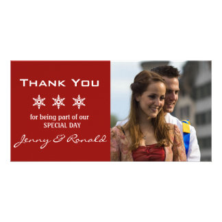 Snowflake Christmas Wedding Thank You PhotoCard Custom Photo Card