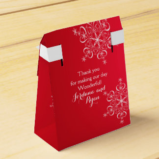 Snowflake Elegance Red 2 Favour Box