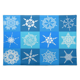 Snowflake on Blue Pattern Placemat