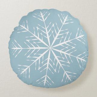 Snowflake on Blue Round Pillow