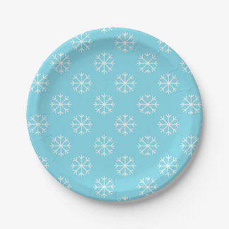 Snowflake paper plates | Christmas party supplies